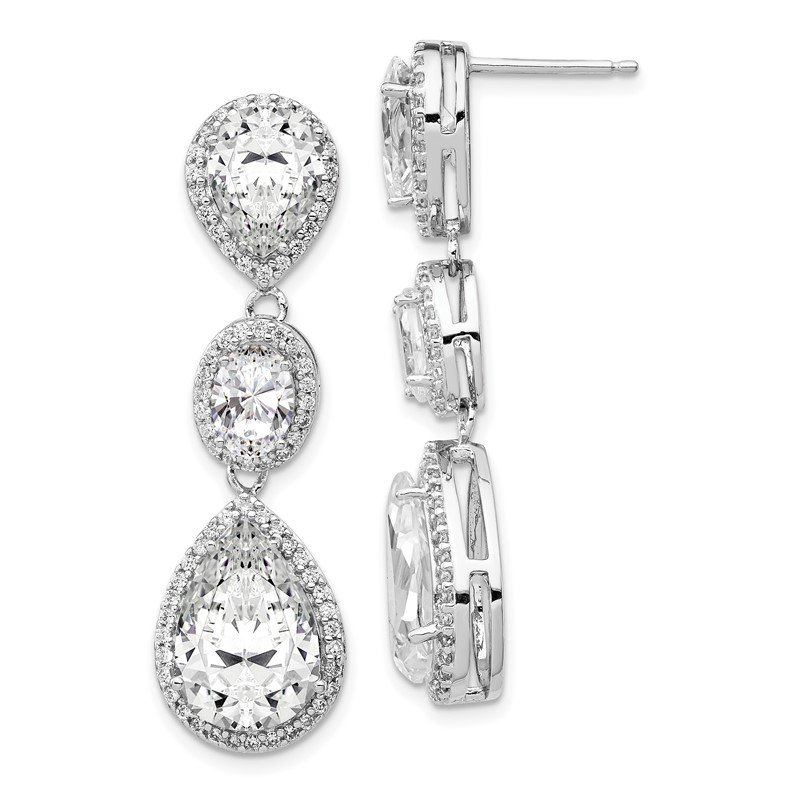 Cheryl M Cheryl M SS Rhodium Plated Fancy Teardrop CZ Dangle Post Earrings