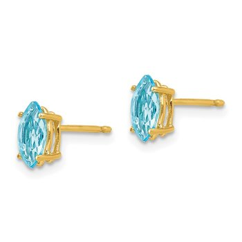 14k 7x3.5mm Marquise Blue Topaz earring