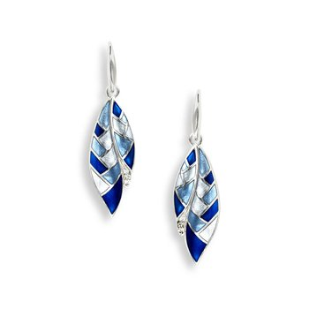 Blue Harliquin Feather Wire Earrings.Sterling Silver-White Sapphires