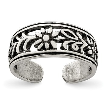 Sterling Silver Antiqued Flower Toe Ring