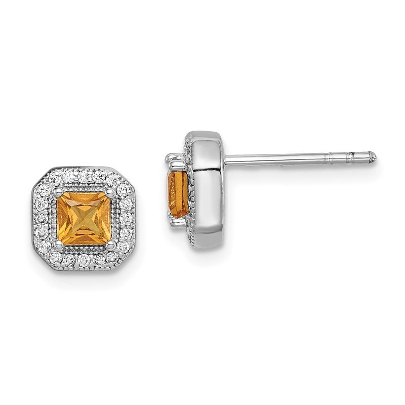Quality Gold Sterling Silver Rhodium Plated Yellow and Clear CZ Post Earrings