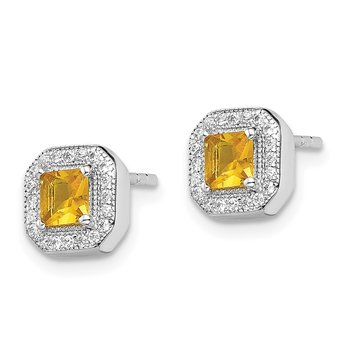 Sterling Silver Rhodium Plated Square Yellow and Clear CZ Post Earrings