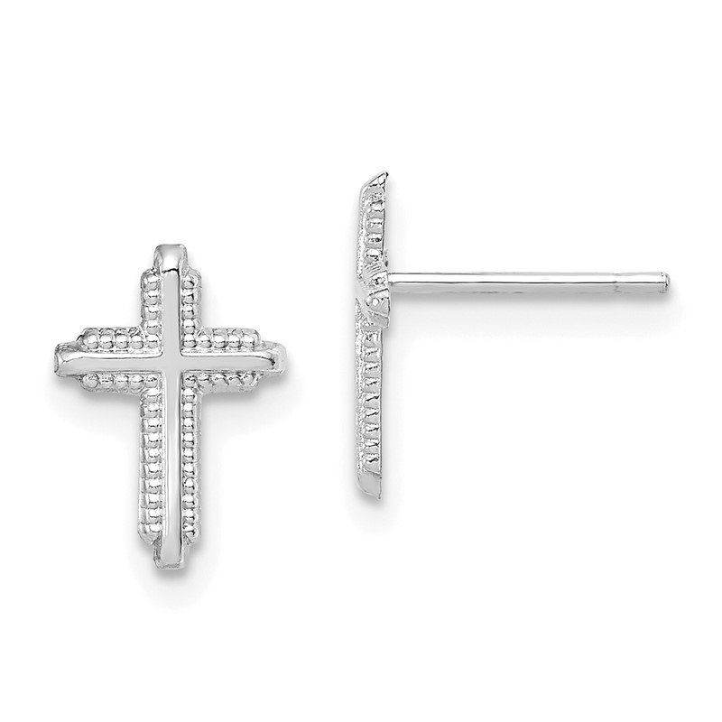 Quality Gold 10K White Gold Polished Cross Post Earrings