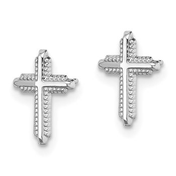 10K White Gold Polished Cross Post Earrings