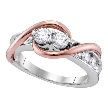 14kt White Rose Gold Womens Round Diamond 2-stone Hearts Together Bridal Wedding Engagement Ring 3/4 Cttw