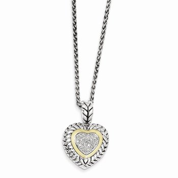 Sterling Silver w/14k 1/15ct. Diamond Heart 18in Necklace