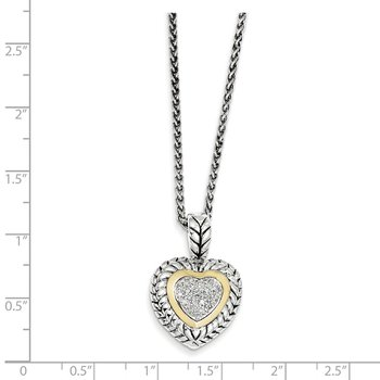 SS w/14k True Two-tone 1/15ct. Diamond Heart 18in Necklace