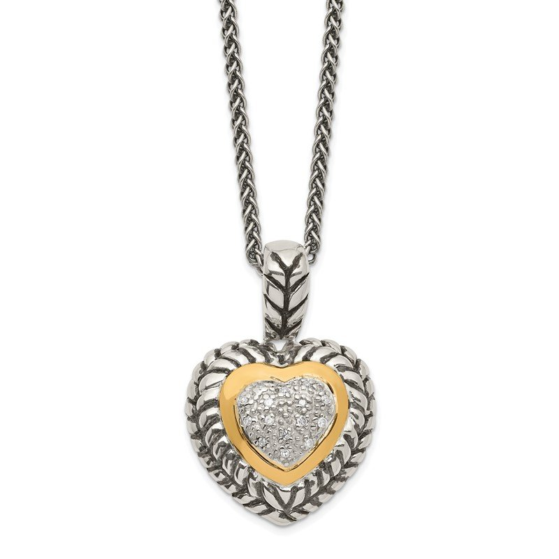 Shey Couture SS w/14k True Two-tone 1/15ct. Diamond Heart 18in Necklace