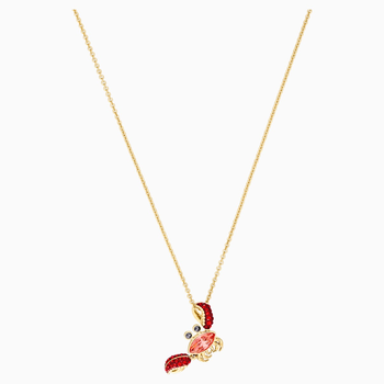Ocean Crab Pendant, Multi-colored, Gold-tone plated