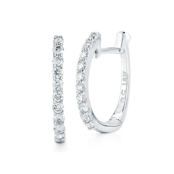 Huggy Earrings With Micropave Diamonds &Ndash; 18K White Gold