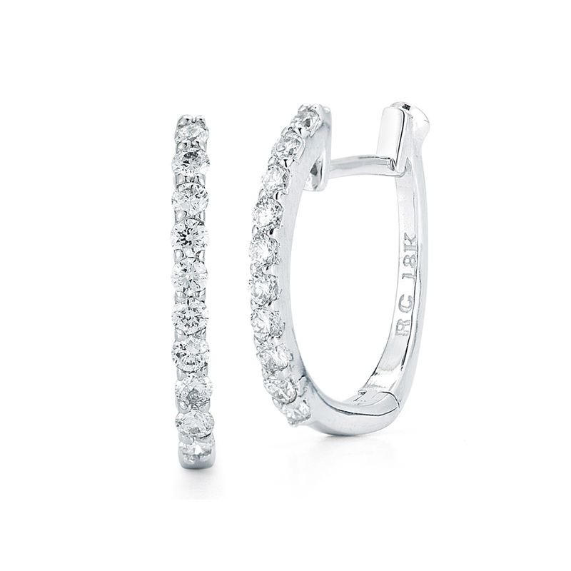 Roberto Coin Huggy Earrings With Micropave Diamonds &Ndash; 18K White Gold