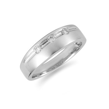 14K WG Diamond 3 Stone Men's Ring in Brush Finish