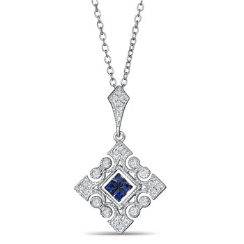 Sapphire And Diamond Pendant In 925 Sterling Silver