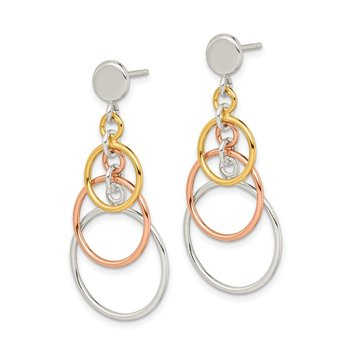 Sterling Silver Polished Flash Gold Plated Circle Dangle Post Earrings