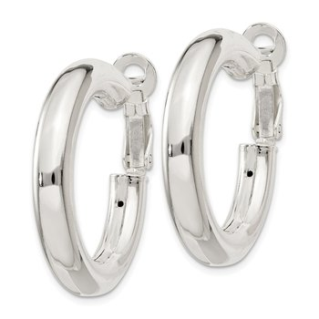 Sterling Silver 5x30mm Omega Back Hoop Earrings
