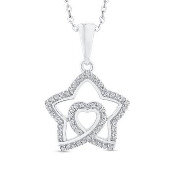 Round Cut Diamond Star Pendant