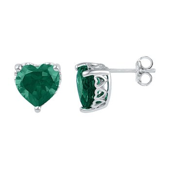 Sterling Silver Womens Heart Lab-Created Emerald Solitaire Stud Earrings 5-1/2 Cttw