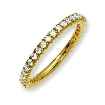 Sterling Silver Yellow-plated 32 Stone CZ Ring