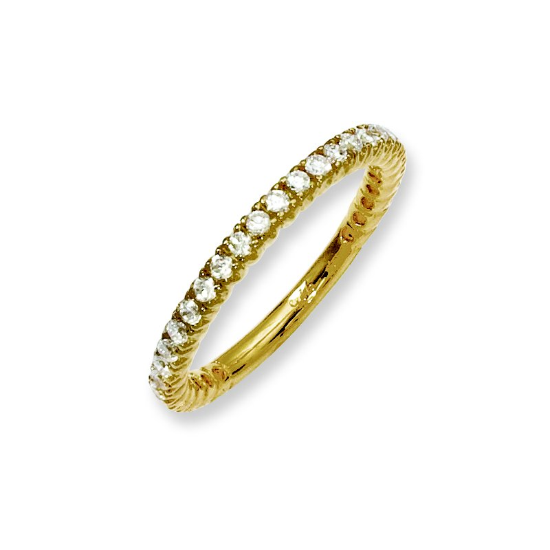 Fine Jewelry by JBD Sterling Silver Yellow-plated 32 Stone CZ Ring