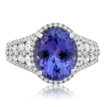 Oval Tanzanite & Diamond Ring