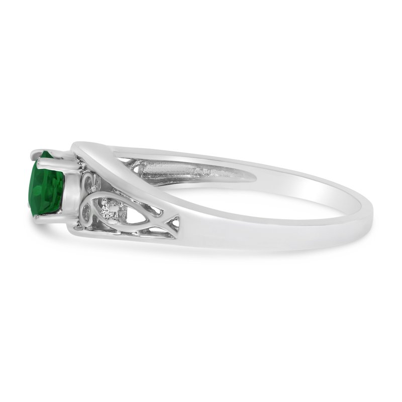 Color Merchants 14k White Gold Round Emerald And Diamond Ring