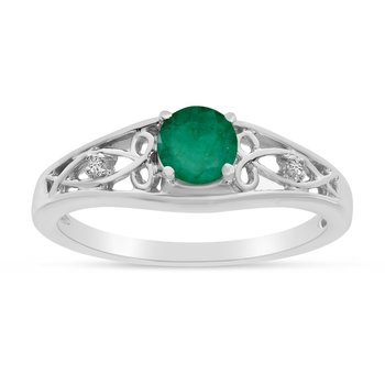 14k White Gold Round Emerald And Diamond Ring
