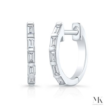 White Gold Baguette Huggie Hoops
