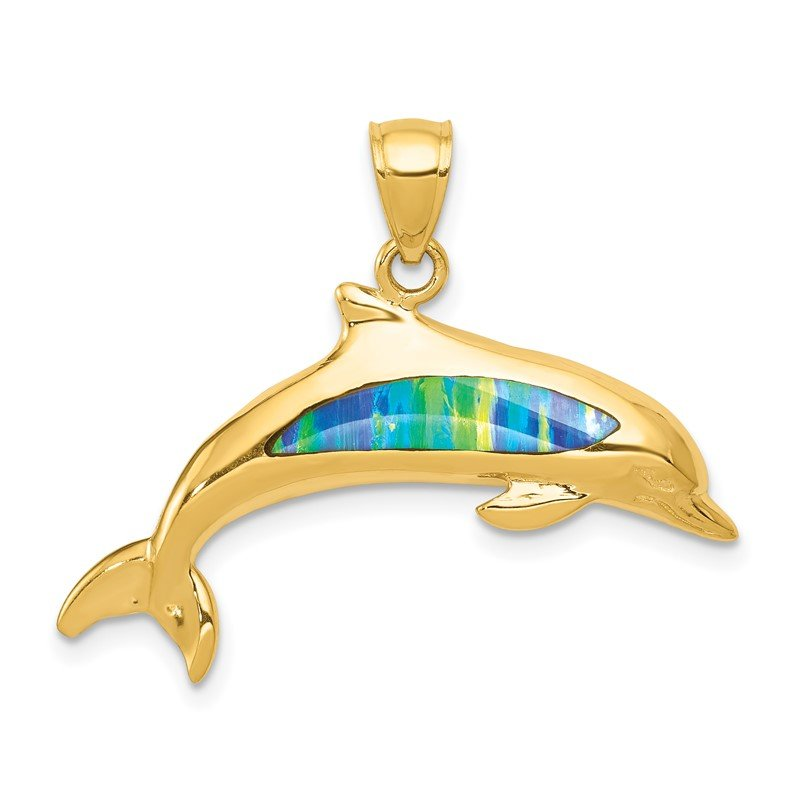 Quality Gold 14K Lab Created Opal Dolphin Pendant