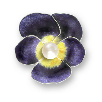 Sterling Silver Pansy Choker Necklace-Purple. Pearl