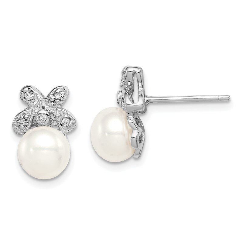 Quality Gold Sterling Silver Rhodium-plated 7-8mm White FWC Pearl CZ Post Earrings