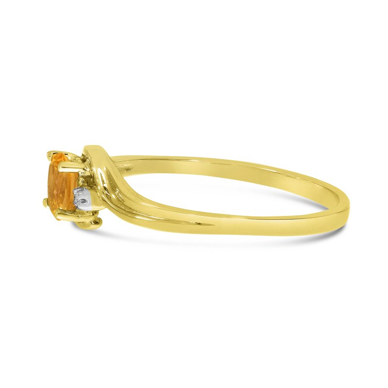 Color Merchants 10k Yellow Gold Oval Citrine And Diamond Ring