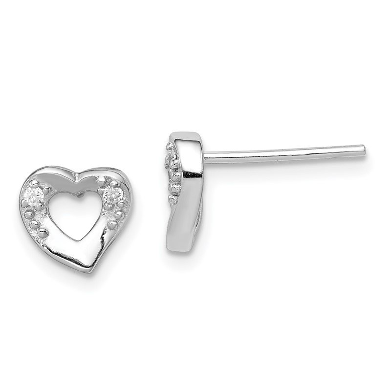Quality Gold Sterling Silver Rhodium-plated Heart and CZ Post Earrings