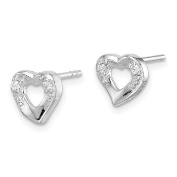 Sterling Silver Rhodium-plated Heart and CZ Post Earrings