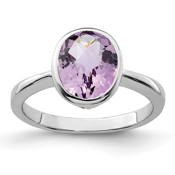 Sterling Silver Rhodium Pink Quartz Ring
