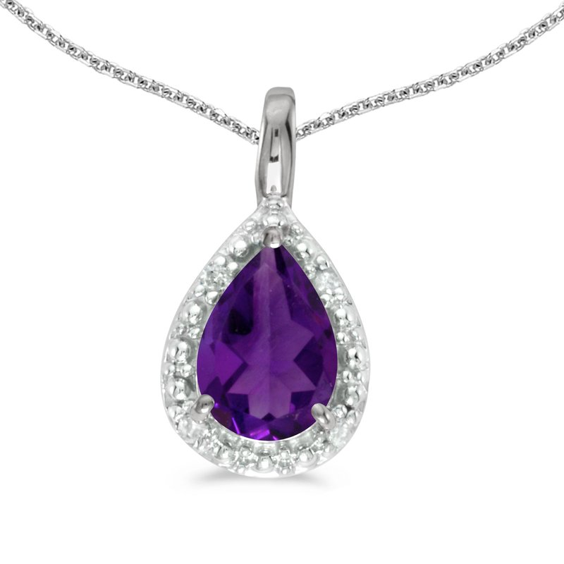 Color Merchants 10k White Gold Pear Amethyst Pendant