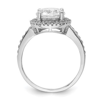 Sterling Silver Rhodium-plated 8mm Center Halo CZ Ring