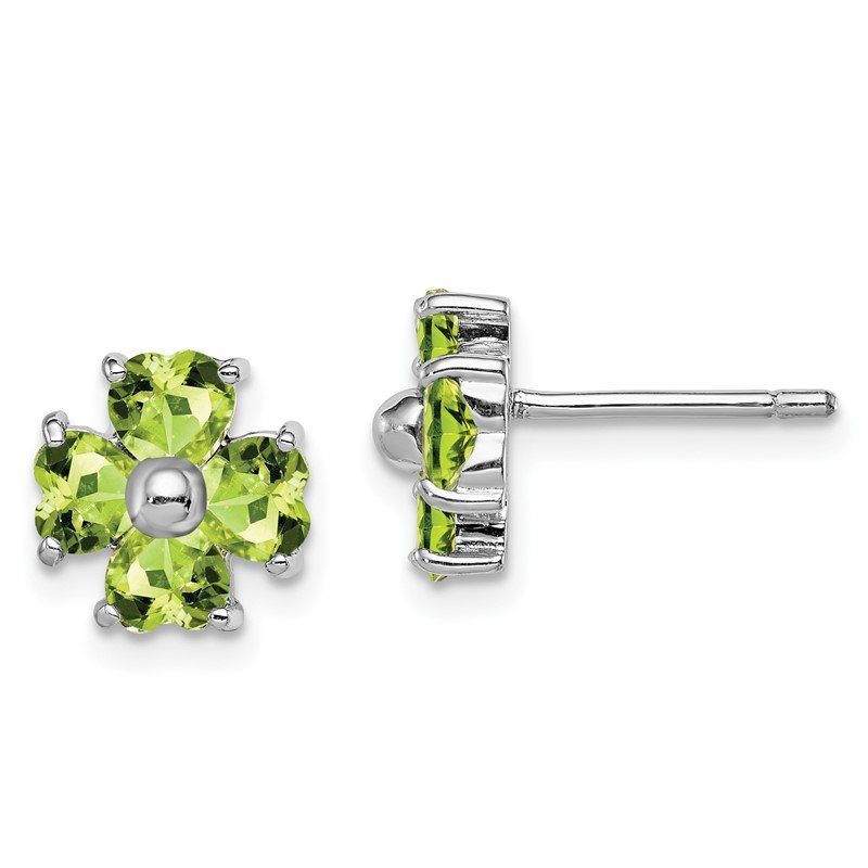 Quality Gold Sterling Silver Rhodium Peridot Flower Post Earrings