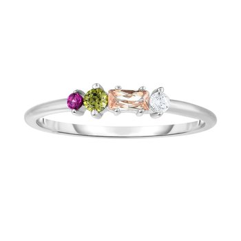 Silver Four Stone Multi Color CZ Stackable Ring