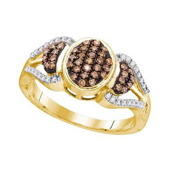 10kt Yellow Gold Womens Round Cognac-brown Color Enhanced Diamond Oval Cluster Ring 1/3 Cttw