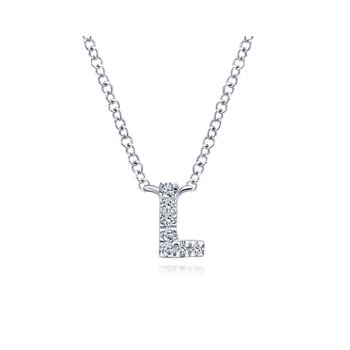 "14K White Gold ""L"" Initial Diamond Necklace"
