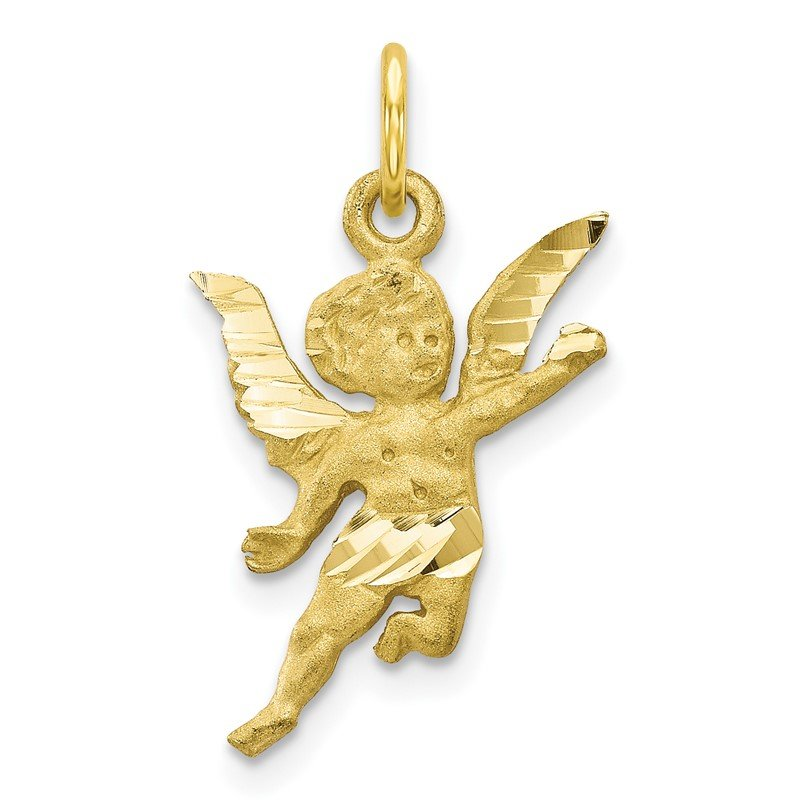 Quality Gold 10k Solid Satin Angel Charm