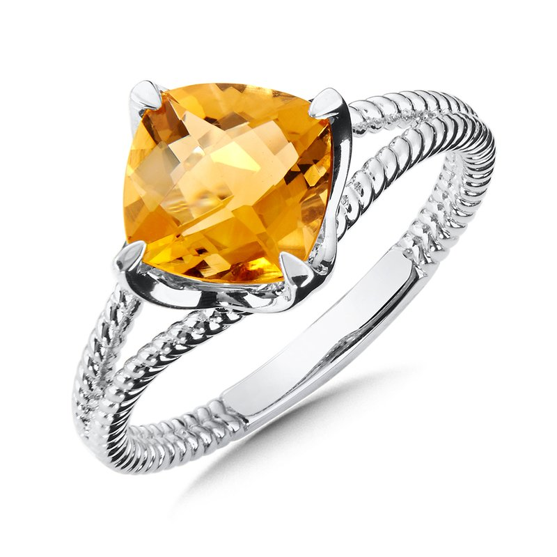 Colore Sg Sterling Silver Citrine Split Shank Ring
