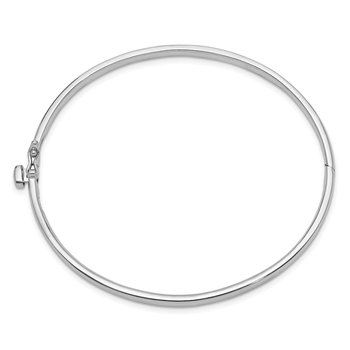 14k White Gold 3.6mm Polished Solid Hinged Bangle Bracelet