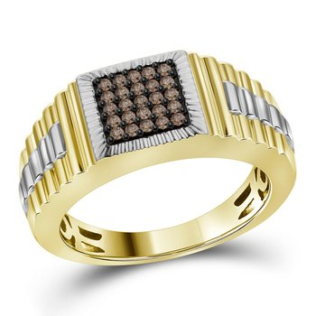 10kt Yellow Gold Mens Round Cognac-brown Color Enhanced Diamond Square Cluster Ribbed Ring 1/4 Cttw