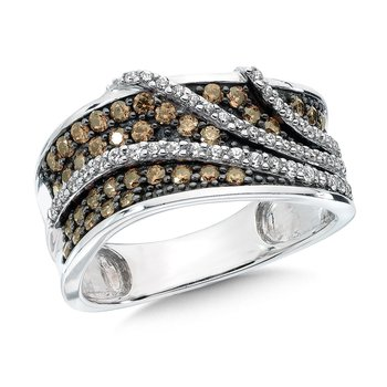 Pave set Cognac and White Diamond Layered Wrap Design Fashion Ring, 14k White Gold, (3/4 ct.tw.)