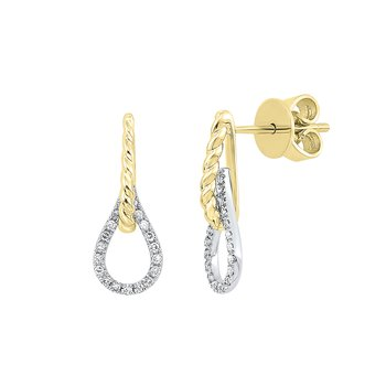 Diamond Drop Earrings in 14K Two-Tone Gold (1/10 ct. tw.)