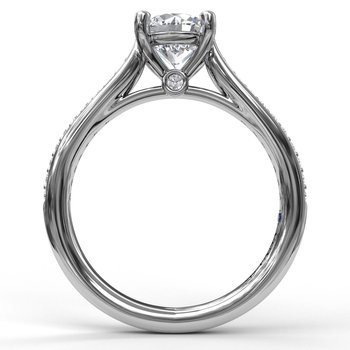 Cathedral Single Row Pave Engagement Ring