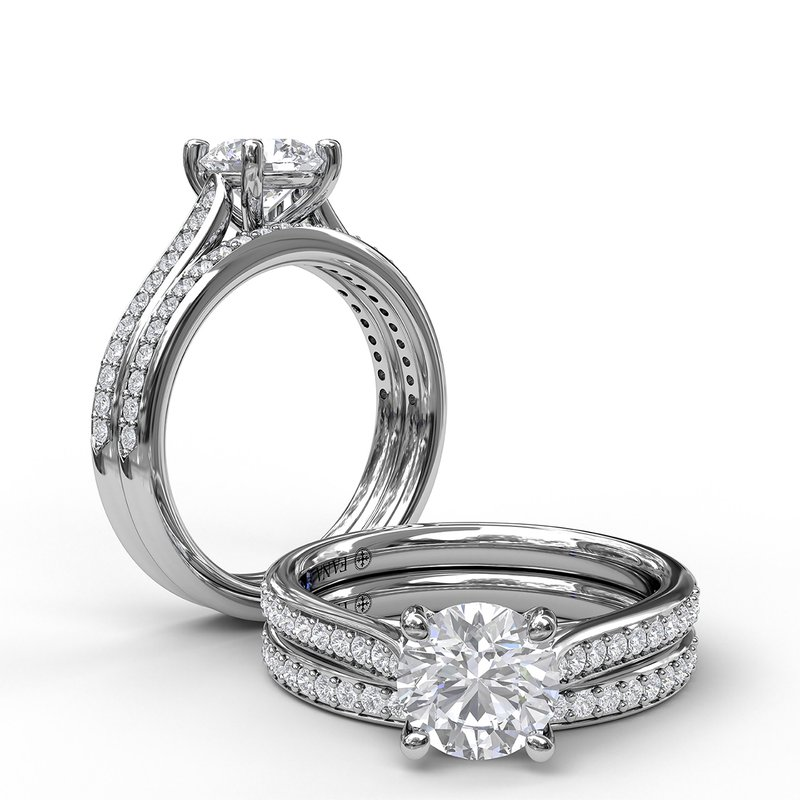 Fana Cathedral Single Row Pave Engagement Ring