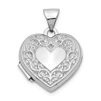 14k White Gold Scroll Pattern Heart Locket