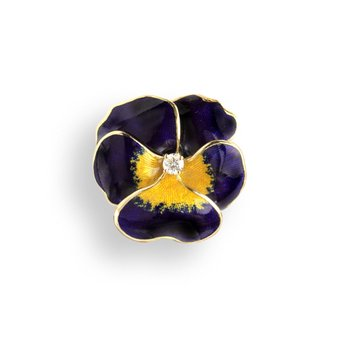 Purple Pansy Pendant.18K -Diamond